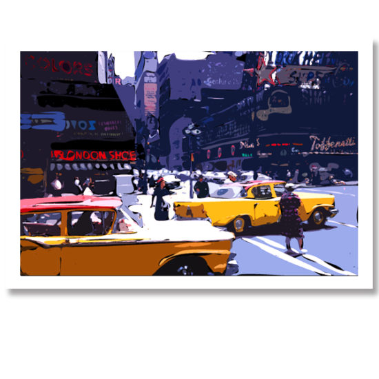 Yellow taxis on a New York Street